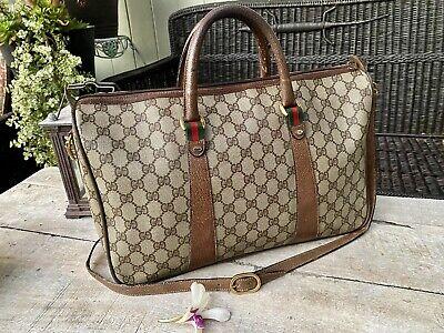 Authentic Gucci Vintage Sherry Line Boston /Luggage Bag W Strap