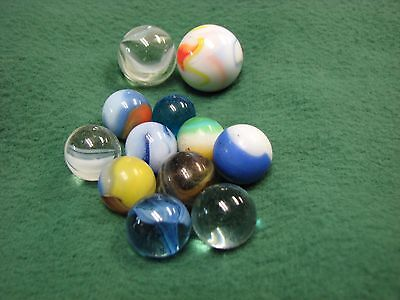 """Vintage Two (2)  1"""" Shooter Marbles & Ten (10) Smaller Marbles  AWESOME !"""