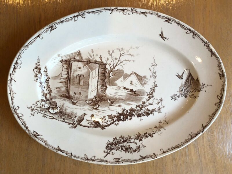 Terre de Fer by HB & Cie Brown French Country Oval Transferware Platter