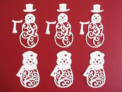 "6 Spellbinder Die Cut Filigree ""Mr & Mrs Snowman"" Embellishments"