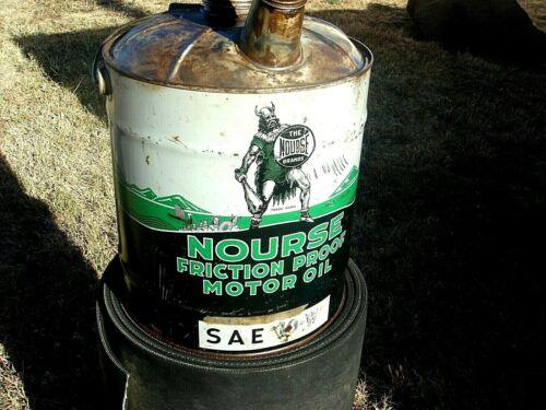 Vintage Rare Advertising  NOURSE VIKING MOTOR OIL Old 5 gallon Gas Tin Can #2