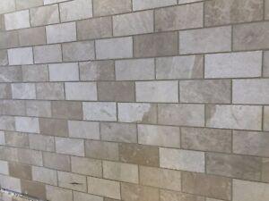 Botticino subway tiles