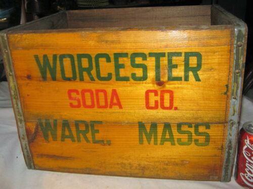 ANTIQUE WORCESTER SODA CO WARE MASS USA WOOD BOTTLE ART SIGN ADVERTISING BOX