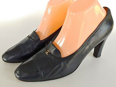 Vintage Gucci Dark Navy Blue Leather Pumps Women's Size 40.5, US 10.5 B Italy