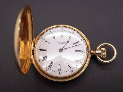 Geneve Gold Pocket Watch - Antique Henry Capt Geneve 18k Yellow Gold Hunting Case Pocket Watch 38235