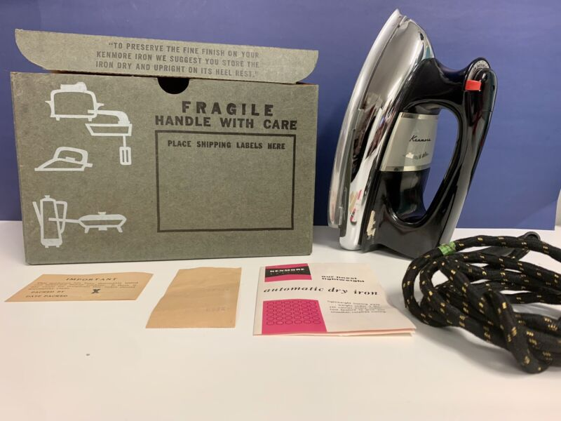 Vintage Sears Kenmore Dry Iron Model 587-62510 Works Great w/Box + Instructions