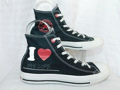 CONVERSE ALL STAR SZ-6 BLACK HIGH TOP PRODUCT RED TENNIS SHOE - Converse Merchandise