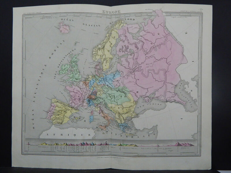 Antique Map 1845 Europe R7#51