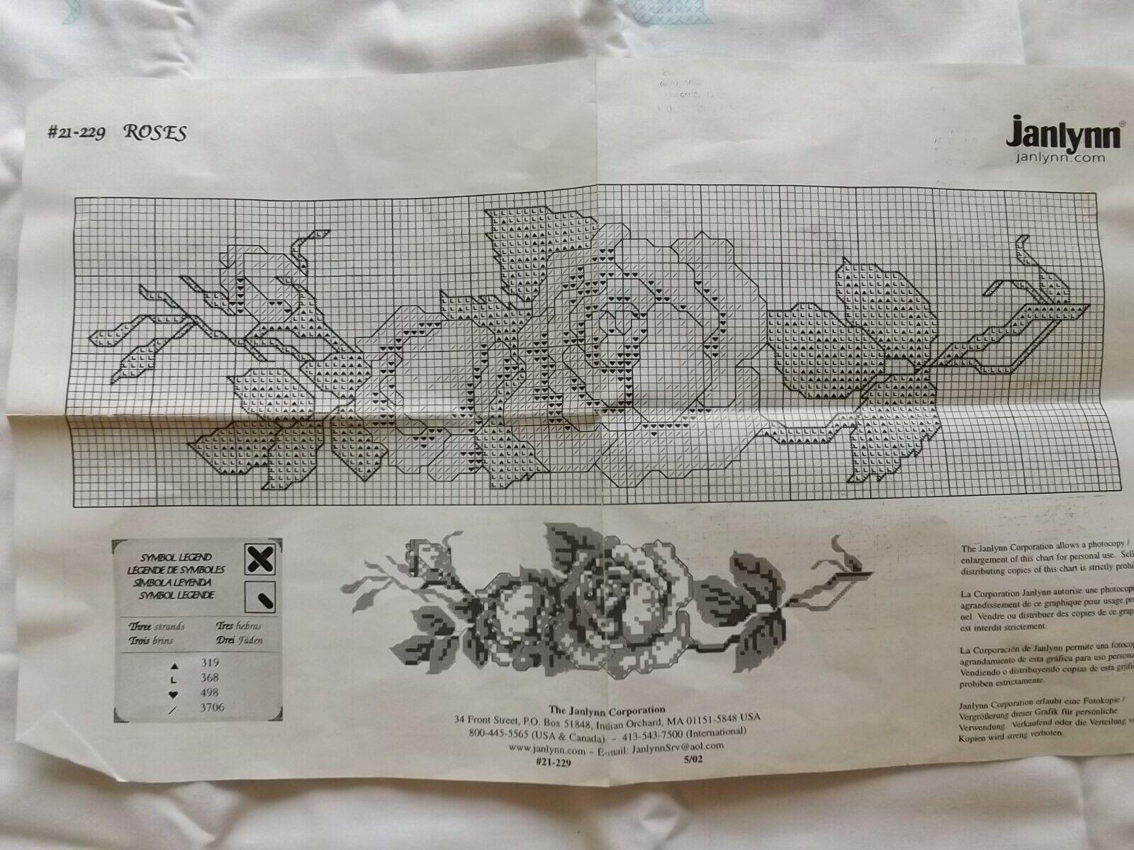 VTG Janlynn Stamped Cross Stitch Pillowcases  Roses #21-229