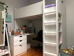 Ikea loft bed white with drawers, shelves and wardrobe