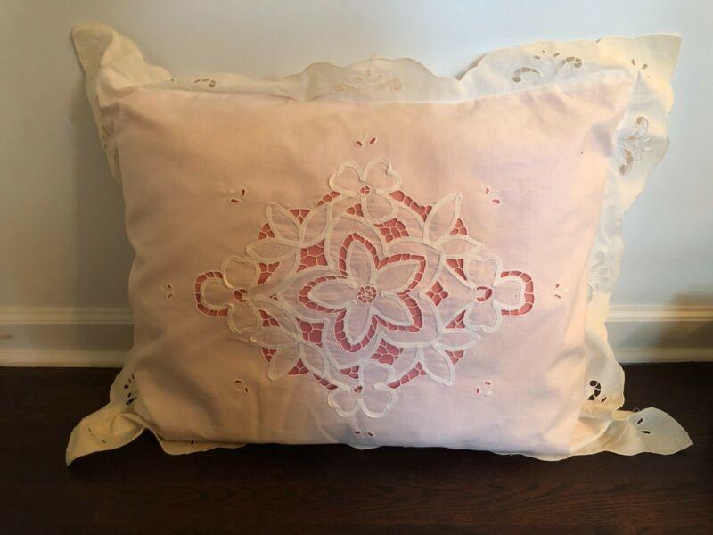 "Pair Antique Victorian Pillow Shams 26"" x 20"""