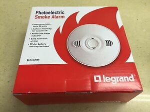 1 OF HPM Legrand PHOTOELECTRIC Smoke Alarm 240v BRAND NEW & IMPROVED MOD 643085