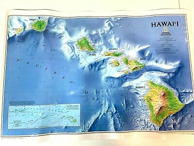 LAMINATED National Geographic Hawaii HI Wall Map 34.75