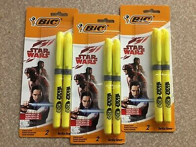 Nib Bic Star Wars Highlighters 2 Packlot Of 3 Yellowtotal Of 6 Highlighters