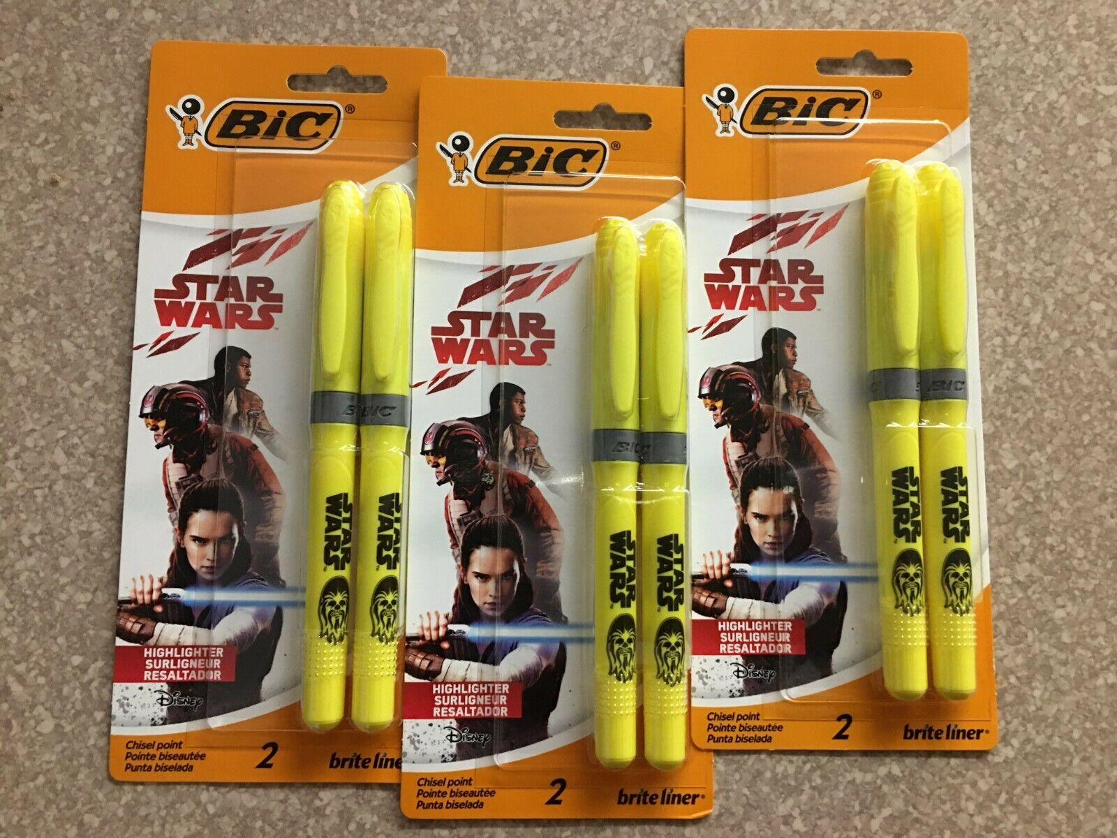 NIB Bic Star Wars Highlighters 2 Pack/Lot of 3 Yellow/Total