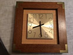 Linden Oak Wall Clock witth Gold Face - Square