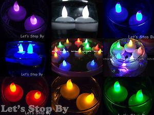 12 flameless floating led tealight candle battery operated tea lights 8 colors. Black Bedroom Furniture Sets. Home Design Ideas