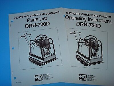 Mq Reversible Plate Compactor Drh-720d Operating Instructions Parts List1993