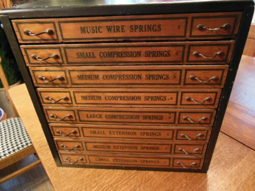 ANTIQUE COMPRESSION SPRING EIGHT DRAWER DISPLAY CABINET/RARE!!!