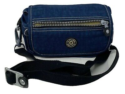 Kipling Blue Mini Flap Crossbody Bag Purse Camera Case Convertible Strap Belt
