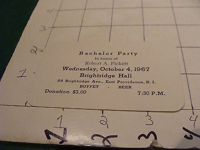 vintage paper: BACHELOR PARTY 1967 rhode island brightridge hall