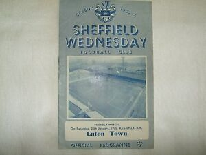 Sheffield Wednesday v Luton Town - Friendly - 28th Jan 1956