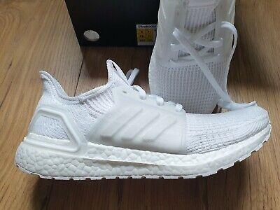 Adidas Ultraboost 19 Ultra Boost Size 7.5 BNIB Ladies Trainers All White Flyknit