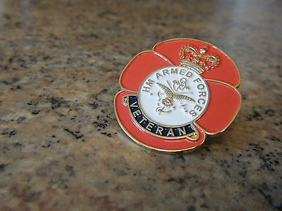 HM ARMED FORCES VETERAN POPPY PIN BADGE,BRITISH ARMY, RAF,NAVY, HIGH QUALITY