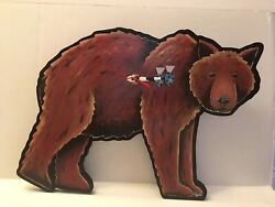 Allen Designs Brown Grizzly Bear Wall Clock Fish Shape Hands Mountain trout RARE