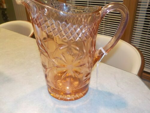 DEPRESSION GLASS PINK FLORAL AND DIAMOND BAND PITCHER....RARE!