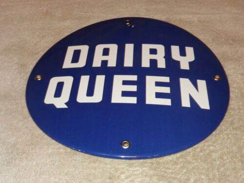 "VINTAGE DAIRY QUEEN ICE CREAM CONE FAST FOOD RESTAURANT 10"" PORCELAIN METAL SIGN"