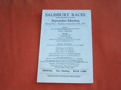 SALISBURY RACE CARD SEPTEMBER 10TH 1970