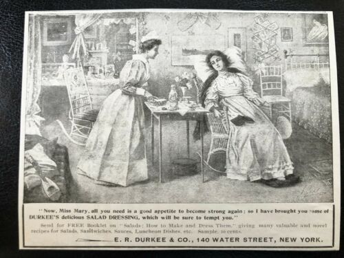Antique1898 DURKEE Salad Dressing Vtg Victorian Era Art Print Ad~Miss Mary&Nurse