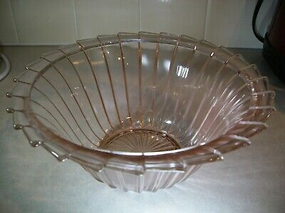 Vintage Pink Depression Swirl Glass Bowl with Scalloped Edge Depression Swirl