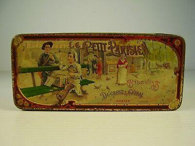 Antike Le Petit Parisien Blech Dose sehr schönes Kinder Motiv um 1900