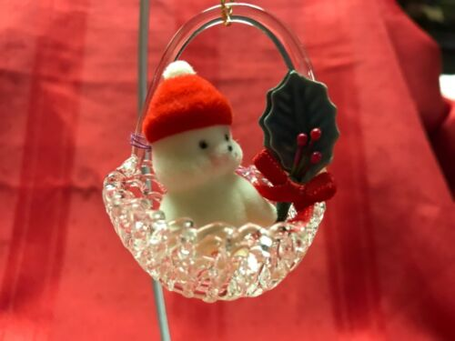 SPUN GLASS BASKET WITH FLOCKED SEAL  ORNAMENT