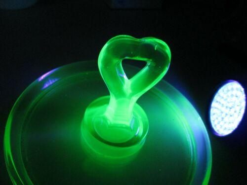 Depression URANIUM Glass Green Tidbit Server Handled Heart Small Vaseline