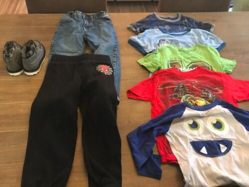 Mixed Lot 8 Boys Clothing (Size 4) One Pair of Jeans/ 5 Shirts/1 Pant/shoes