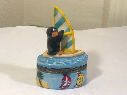 Windsurfing Sailing Penguin Porcelain Trinket Box on Stand
