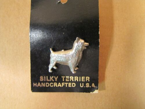 SILKY TERRIER Dog Pin Silver Tone Handcrafted U.S.A. Jewelry
