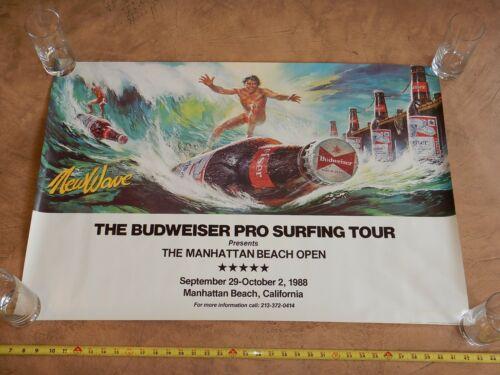 1988 BUDWEISER PRO SURFING TOUR, MANHATTAN BEACH, CA OPEN PROMOTIONAL POSTER