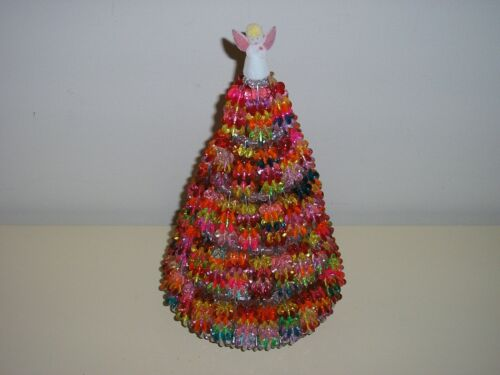 "Vintage Retro Midcentury MCM 10"" Beaded Christmas Tree Safety Pin Bead Angel Top"