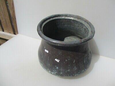Antique Copper Cauldron Arabic Pot Tub Planter Trough Asian Bucket Etched 13