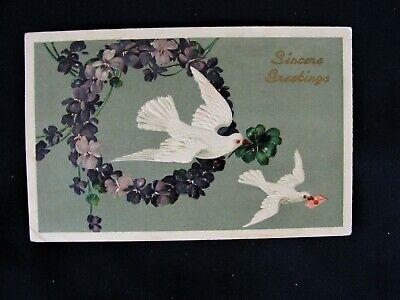Doves In Flight w Violet Wreath Embossed Antique Greeting Postcard ~