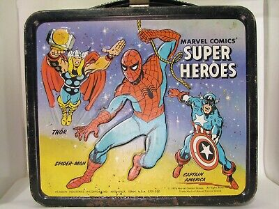 Marvel Super Heros Lunch Box 1976 Aladdin Spider-Man Hulk Ironman Vision