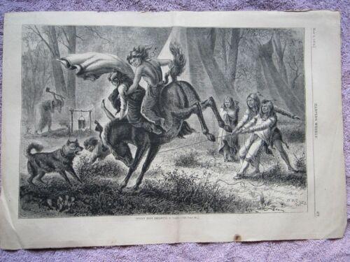 """1874 NATIVE AMERICAN """"INDIAN BOYS BREAKING PONY"""" HARPER'S WEEKLY ENGRAVING PRINT"""