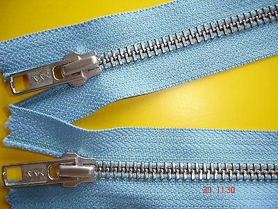 1 Reißverschluß ykk hellblau 64cm, 2-Wege-RV Metallzähne X25