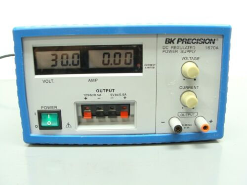 BK PRECISION 1670A Triple Output DC Power Supply 0 - 30VDC, 0 - 3 Amp - TESTED