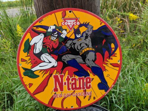 OLD 1966 CONOCO N-TANE GASOLINE PORCELAIN GAS STATION PUMP SIGN HERO BATMAN