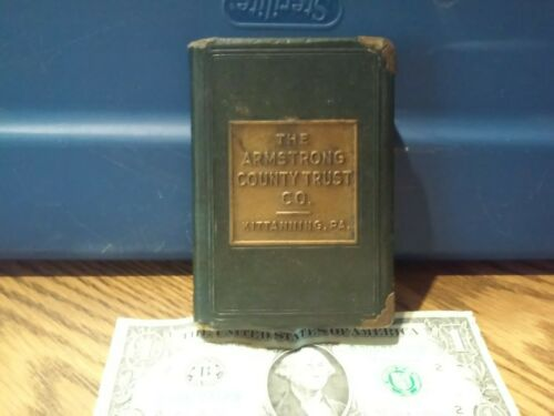 Vintage The Armstrong County Trust Co. Metal  Leather Book Bank